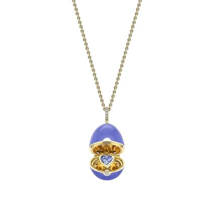 Yellow Gold, Diamond & Blue Sapphire Heart Surprise Locket with Blue Lacquer | Fabergé