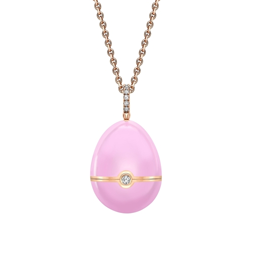 Rose Gold, Diamond & Pink Sapphire Heart Surprise Locket with Pink Lacquer | Fabergé