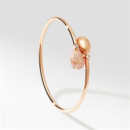 Rose Gold, Diamond & Pink Enamel Crossover Bracelet | Fabergé