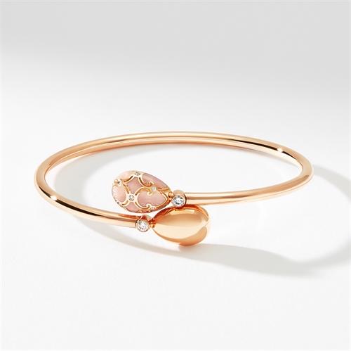 Rose Gold, Diamond & Pink Enamel Crossover Bracelet   Fabergé