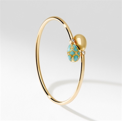 Yellow Gold, Diamond & Turquoise Enamel Crossover Bracelet | Fabergé