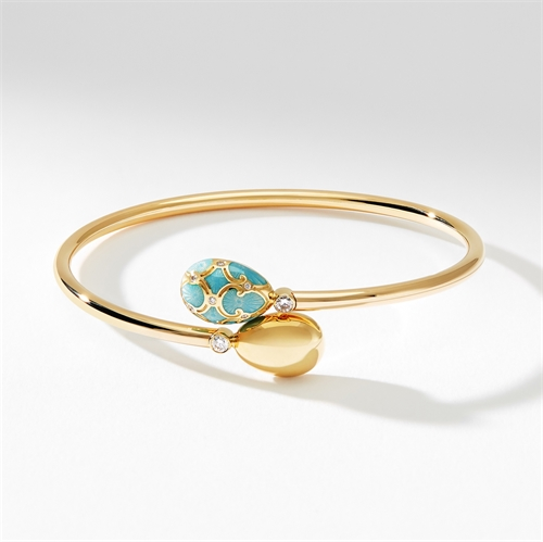 Yellow Gold, Diamond & Turquoise Enamel Crossover Bracelet   Fabergé