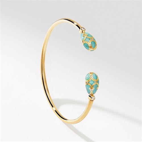 Yellow Gold Diamond & Turquoise Guilloché Enamel Open Bracelet | Fabergé