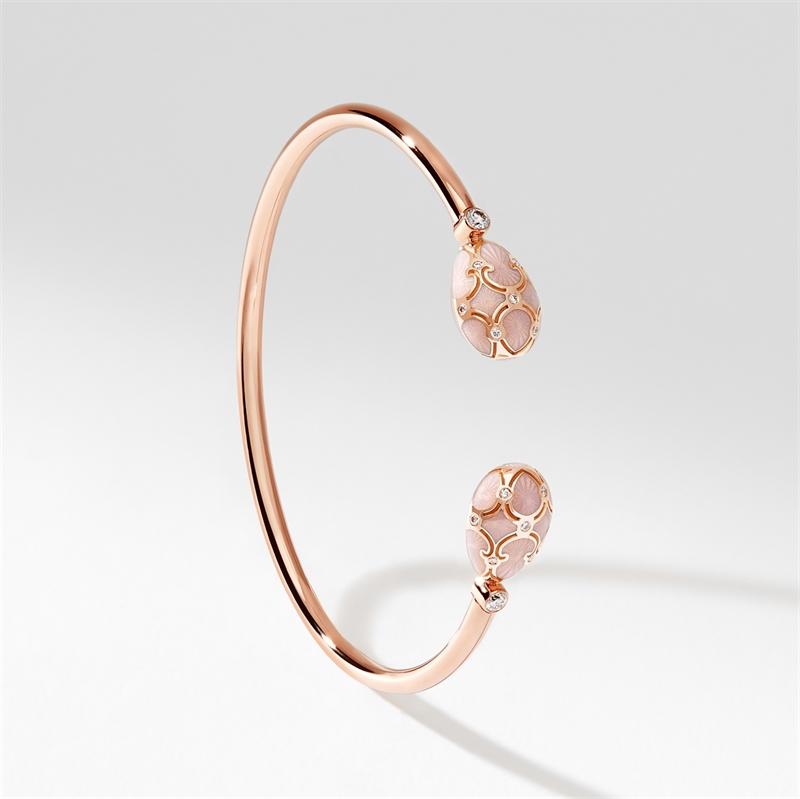 Rose Gold, Diamond & Pink Enamel Open Bracelet | Fabergé