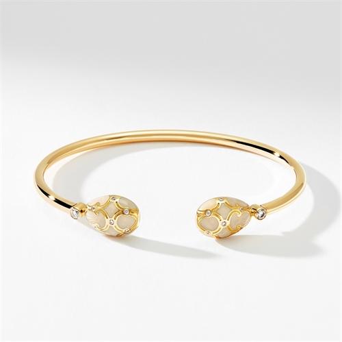Yellow Gold, Diamond & White Enamel Open Bracelet | Fabergé