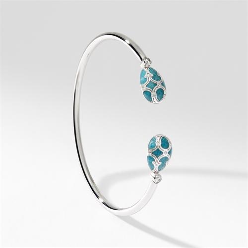 White Gold Diamond & Teal Guilloché Enamel Open Bracelet | Fabergé