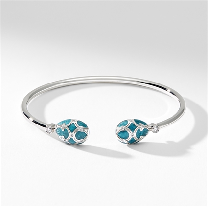 White Gold Diamond & Teal Guilloché Enamel Open Bracelet | Fabergé