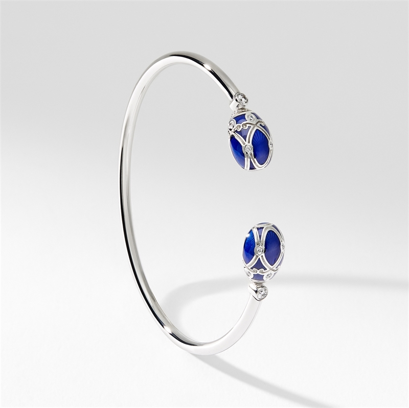 White Gold, Diamond & Blue Enamel Open Bracelet | Fabergé