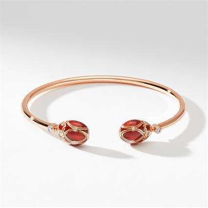 Rose Gold, Diamond & Red Enamel Open Bracelet | Fabergé
