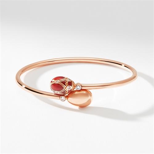 Rose Gold, Diamond & Red Enamel Crossover Bracelet | Fabergé