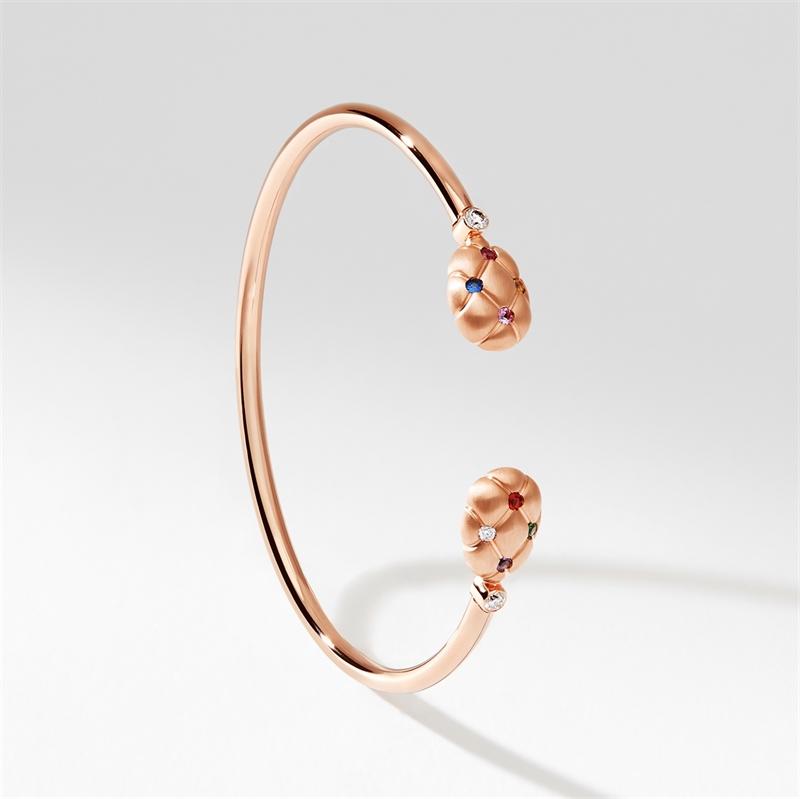 Brushed Rose Gold, Diamond, Sapphire & Ruby Open Bracelet | Fabergé