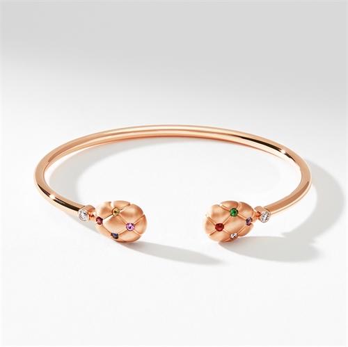 Brushed Rose Gold, Diamond, Sapphire & Ruby Open Bracelet   Fabergé