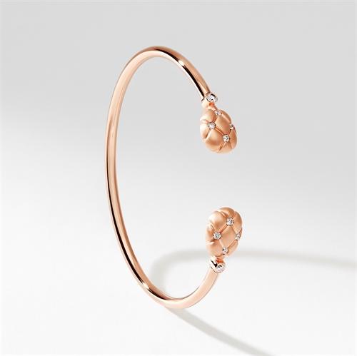 Brushed Rose Gold & Diamond Open Set Bracelet   Fabergé