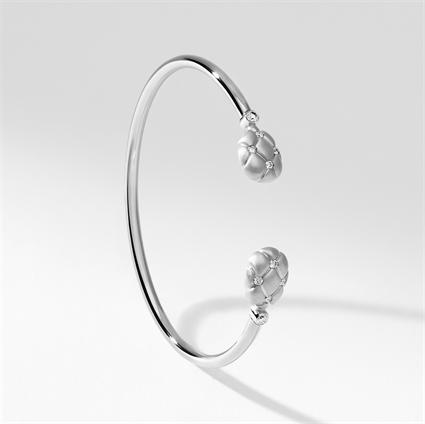 Brushed White Gold & Diamond Open Set Bracelet | Fabergé