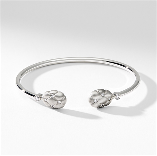 Brushed White Gold & Diamond Open Set Bracelet   Fabergé