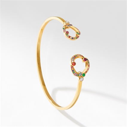 Yellow Gold, Diamond, Emerald & Sapphire Open Bracelet | Fabergé