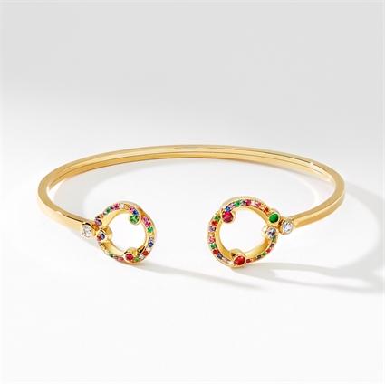 Yellow Gold, Diamond, Emerald & Sapphire Open Bracelet | Fabergé