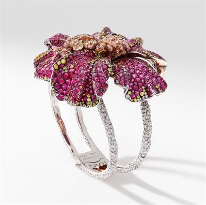 Hibiscus Gold, Ruby & Diamond Flower Cuff Bracelet | Fabergé