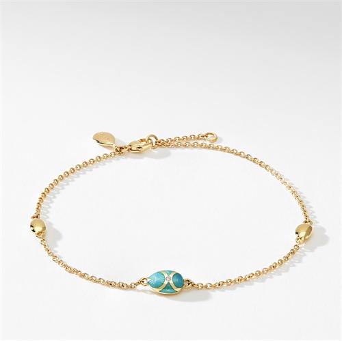 Yellow Gold Diamond & Turquoise Guilloché Enamel Chain Bracelet | Fabergé