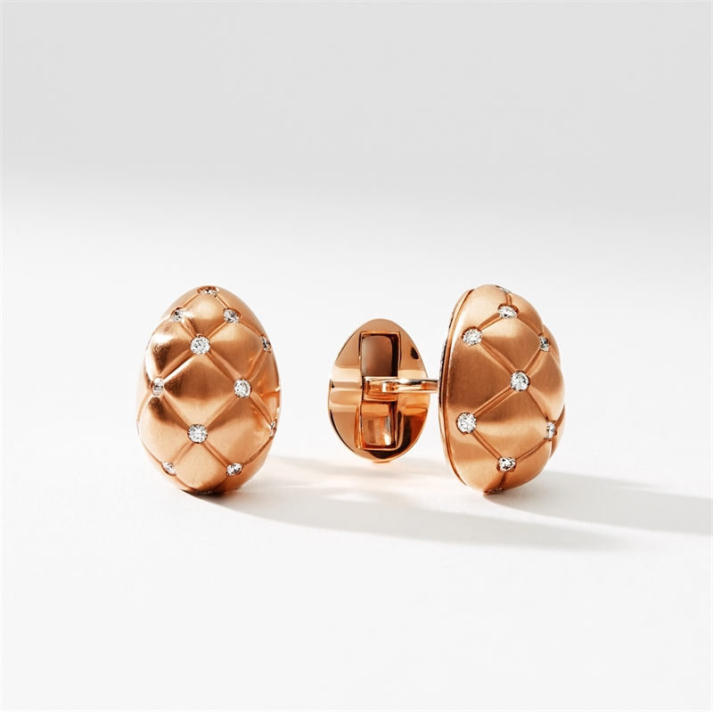 Brushed Rose Gold Diamond Set Egg Cufflinks | Fabergé
