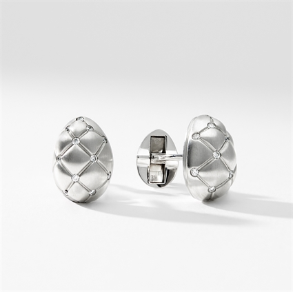 White Gold and Diamond Cufflinks - Fabergé  Treillage Diamond White Gold Matt Cufflinks