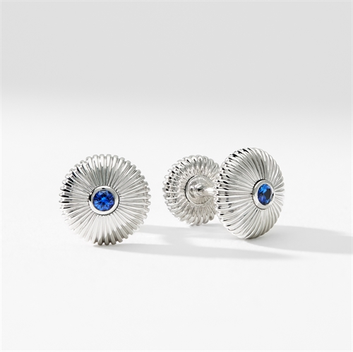 FABERGÉ Cufflinks – Sapphire and White Gold Fluted Cufflinks