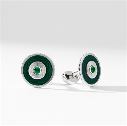 Emerald and White Gold Cufflinks - Fabergé Emerald Green Enamel Cufflinks