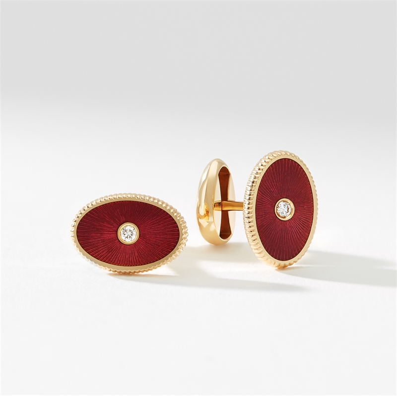 Rose Gold Diamond & Red Guilloché Enamel Oval Cufflinks | Fabergé