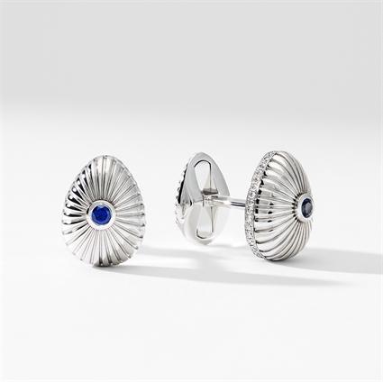 White Gold Blue Sapphire & Diamond Fluted Egg Cufflinks | Fabergé