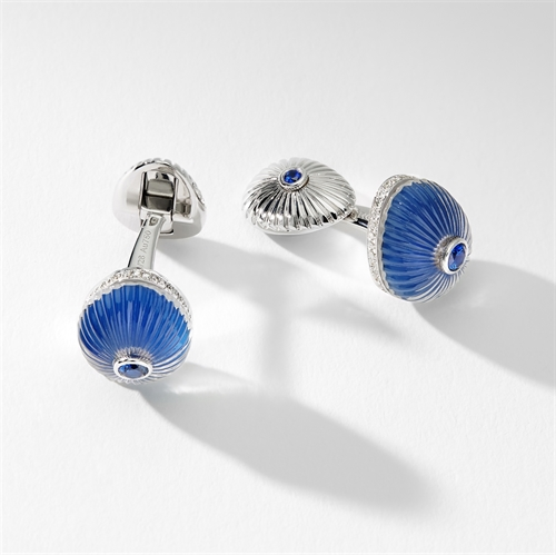 White Gold Crystal & Blue Sapphire Egg Cufflinks | Fabergé