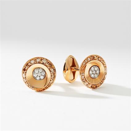 Rose Gold Diamond Round Cufflinks | Fabergé