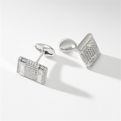 White Gold Diamond Rectangular Cufflinks | Fabergé