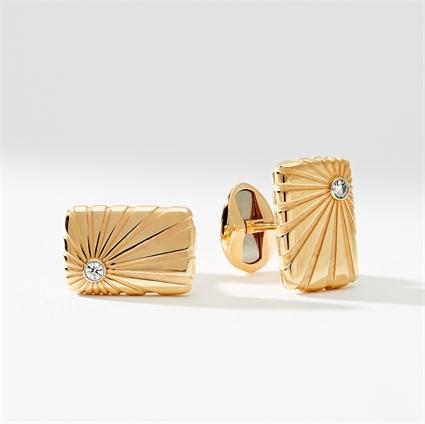 Rose & White Gold Rectangular Diamond Cufflinks | Fabergé
