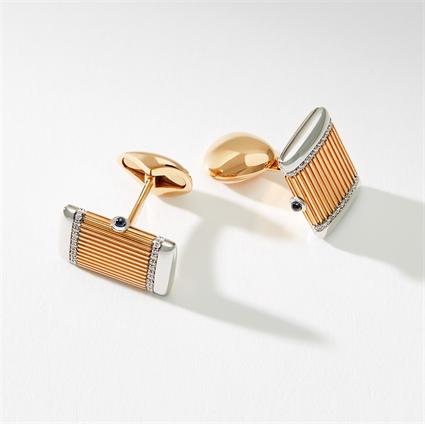 Rose & White Gold Diamond & Sapphire Rectangular Cufflinks | Fabergé