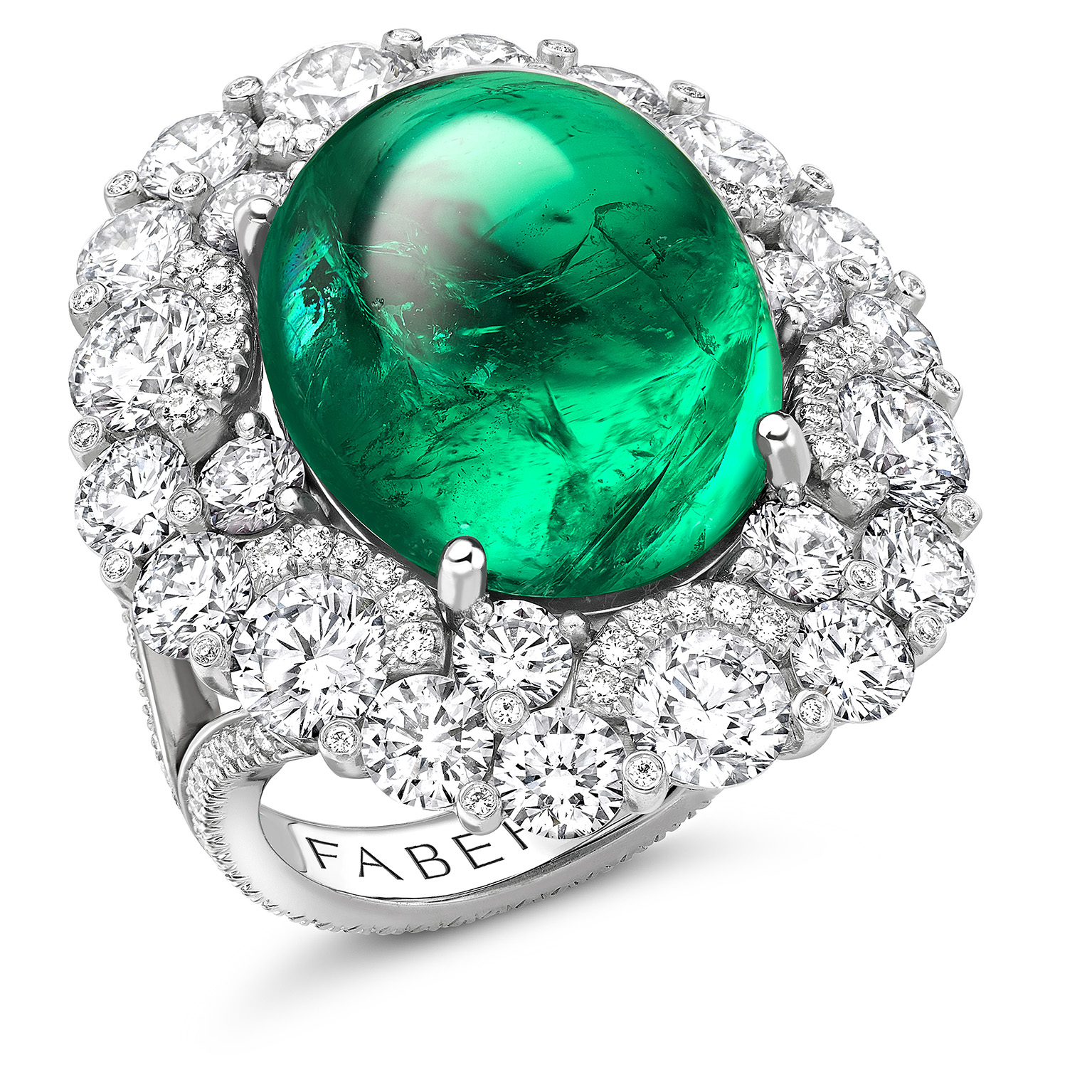 Platinum Cabochon Emerald Halo Ring Set With Diamonds | Fabergé