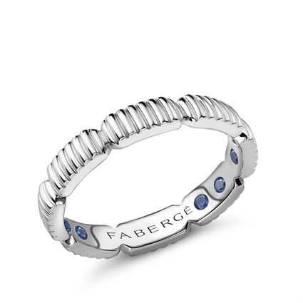 White Gold Fluted Healing Ring with Hidden Sapphires | Fabergé